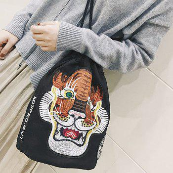 String Canvas Tiger Embroidery Backpack -  BLACK