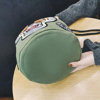 String Canvas Tiger Embroidery Backpack -  GREEN