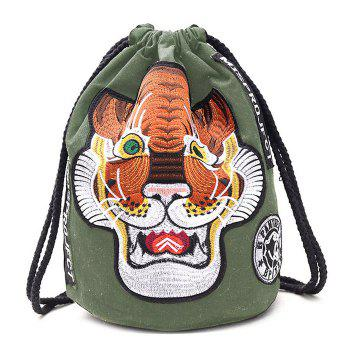 String Canvas Tiger Embroidery Backpack - GREEN GREEN