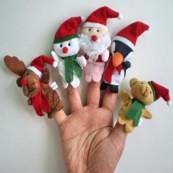 5 Pcs/Set Baby Plush Toy Christmas Finger Puppets - COLORFUL