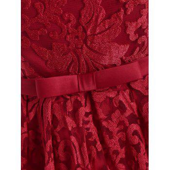Floral Lace Cold Shoulder Bowknot Formal Dress - RED XL