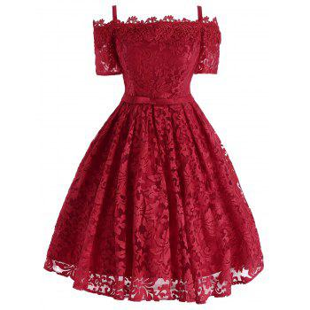 Floral Lace Cold Shoulder Bowknot Formal Dress - RED RED