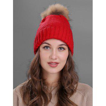 Crochet Flanging Pom Ball Knitting Hat - RED RED