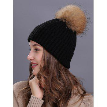 Outdoor Fuzzy Ball Decorated Flanging Knit Beanie - BLACK