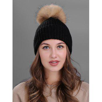 Outdoor Fuzzy Ball Decorated Flanging Knit Beanie - BLACK BLACK