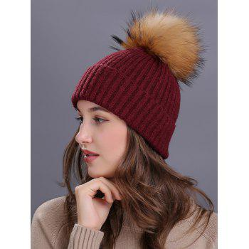 Outdoor Fuzzy Ball Decorated Flanging Knit Beanie - BURGUNDY