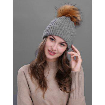 Outdoor Fuzzy Ball Decorated Flanging Knit Beanie - DEEP GRAY DEEP GRAY