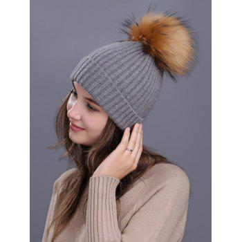 Outdoor Fuzzy Ball Decorated Flanging Knit Beanie -  DEEP GRAY