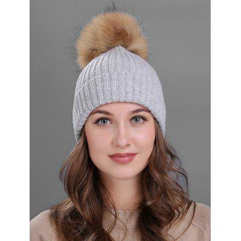 Outdoor Fuzzy Ball Decorated Flanging Knit Beanie - LIGHT GRAY LIGHT GRAY
