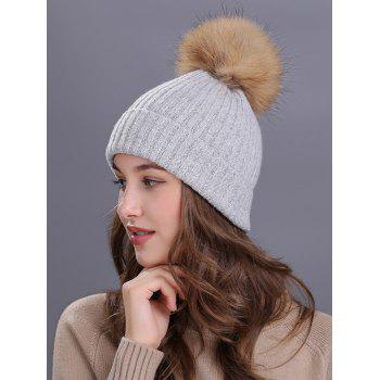Outdoor Fuzzy Ball Decorated Flanging Knit Beanie -  LIGHT GRAY