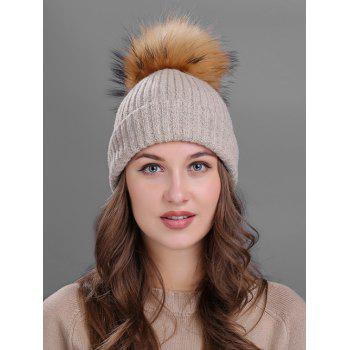 Outdoor Fuzzy Ball Decorated Flanging Knit Beanie - KHAKI KHAKI
