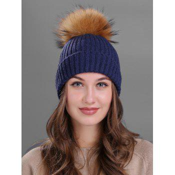 Outdoor Fuzzy Ball Decorated Flanging Knit Beanie - CADETBLUE CADETBLUE