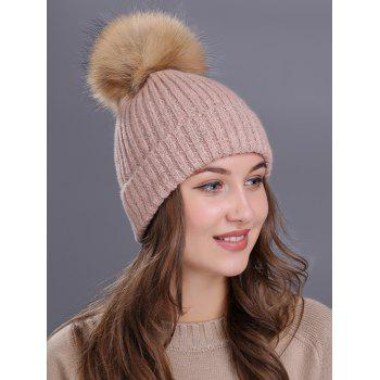 Outdoor Fuzzy Ball Decorated Flanging Knit Beanie -  PINK