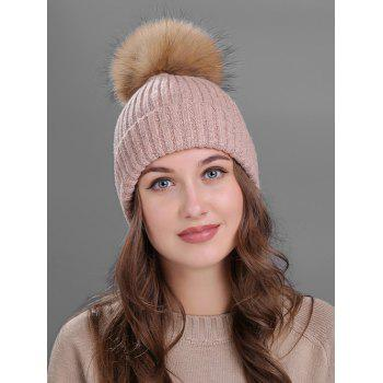 Outdoor Fuzzy Ball Decorated Flanging Knit Beanie - PINK PINK