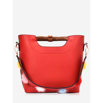 Faux Leather Pompom Handbag - RED RED
