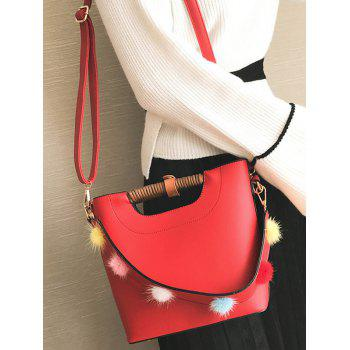 Faux Leather Pompom Handbag -  RED