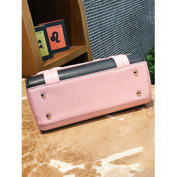 Color Block Patchwork Rivets Crossbody Bag - PINK
