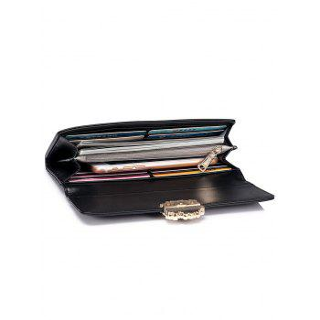 Flower Quilted Wallet - BLACK