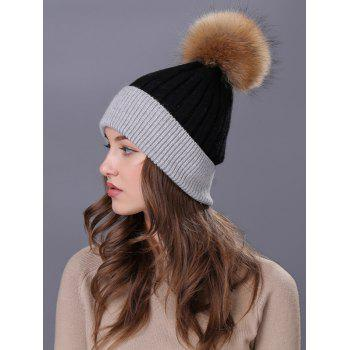Outdoor Fur Pom Ball Decorated Knitted Beanie - BLACK
