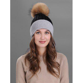 Outdoor Fur Pom Ball Decorated Knitted Beanie - BLACK BLACK