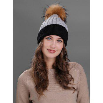 Outdoor Fur Pom Ball Decorated Knitted Beanie - GRAY GRAY