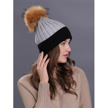 Outdoor Fur Pom Ball Decorated Knitted Beanie - GRAY