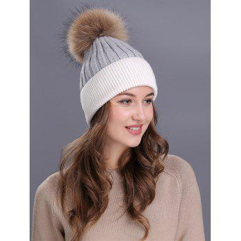 Outdoor Fur Pom Ball Decorated Knitted Beanie -  GREY/WHITE