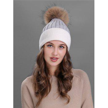 Outdoor Fur Pom Ball Decorated Knitted Beanie - GREY AND WHITE GREY/WHITE