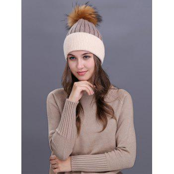 Outdoor Fur Pom Ball Decorated Knitted Beanie -  KHAKI