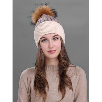 Outdoor Fur Pom Ball Decorated Knitted Beanie - KHAKI KHAKI