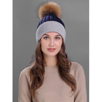 Outdoor Fur Pom Ball Decorated Knitted Beanie - CADETBLUE/GRAY CADETBLUE/GRAY