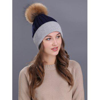 Outdoor Fur Pom Ball Decorated Knitted Beanie -  CADETBLUE/GRAY