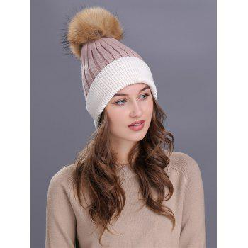 Outdoor Fur Pom Ball Decorated Knitted Beanie -  PINK