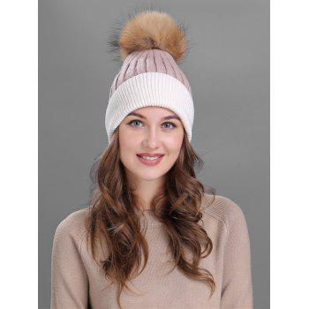 Outdoor Fur Pom Ball Decorated Knitted Beanie - PINK PINK