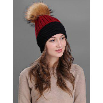 Outdoor Fur Pom Ball Decorated Knitted Beanie - RED RED