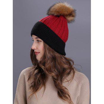 Outdoor Fur Pom Ball Decorated Knitted Beanie -  RED