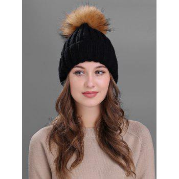 Soft Fur Pom Ball Decorated Flanging Knitted Beanie - BLACK BLACK