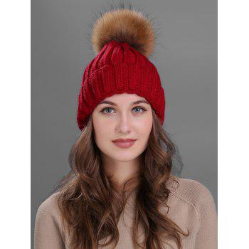 Soft Fur Pom Ball Decorated Flanging Knitted Beanie - WINE RED WINE RED