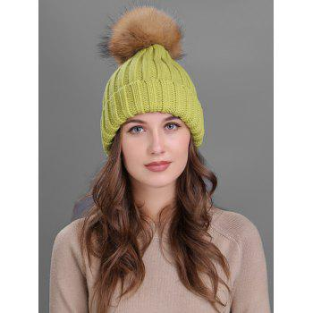 Soft Fur Pom Ball Decorated Flanging Knitted Beanie - GREEN GREEN