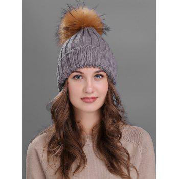 Soft Fur Pom Ball Decorated Flanging Knitted Beanie - GRAY GRAY