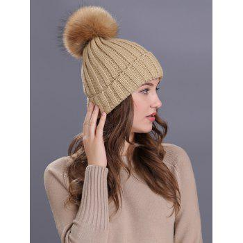 Soft Fur Pom Ball Decorated Flanging Knitted Beanie -  KHAKI
