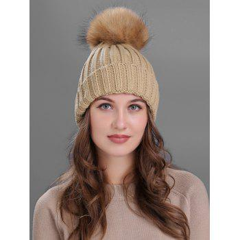 Soft Fur Pom Ball Decorated Flanging Knitted Beanie - KHAKI KHAKI