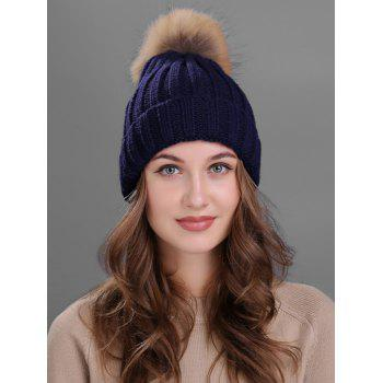 Soft Fur Pom Ball Decorated Flanging Knitted Beanie - CADETBLUE CADETBLUE