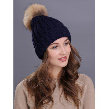 Soft Fur Pom Ball Decorated Flanging Knitted Beanie - CADETBLUE