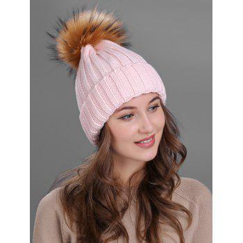 Soft Fur Pom Ball Decorated Flanging Knitted Beanie - PINK PINK