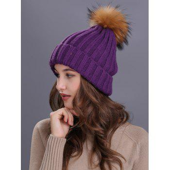 Soft Fur Pom Ball Decorated Flanging Knitted Beanie - PURPLE