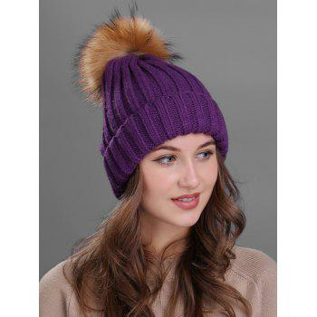Soft Fur Pom Ball Decorated Flanging Knitted Beanie - PURPLE PURPLE