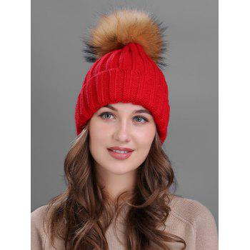 Soft Fur Pom Ball Decorated Flanging Knitted Beanie - RED RED