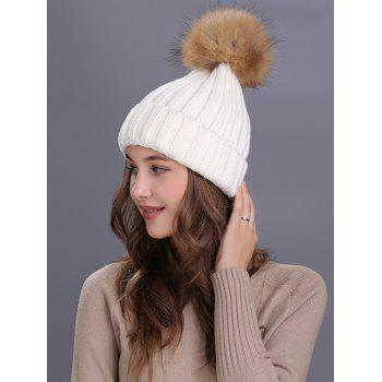 Soft Fur Pom Ball Decorated Flanging Knitted Beanie - WHITE
