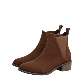 Slip On Low Heel Ankle Boots - LIGHT BROWN 38